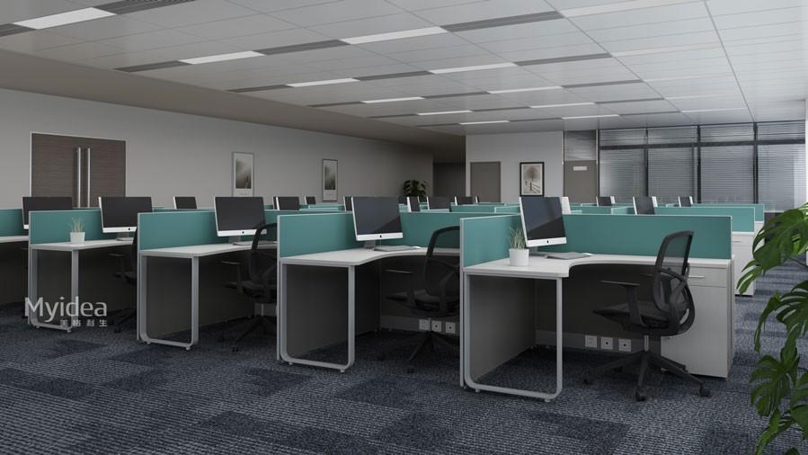 现代职员卡位办公桌